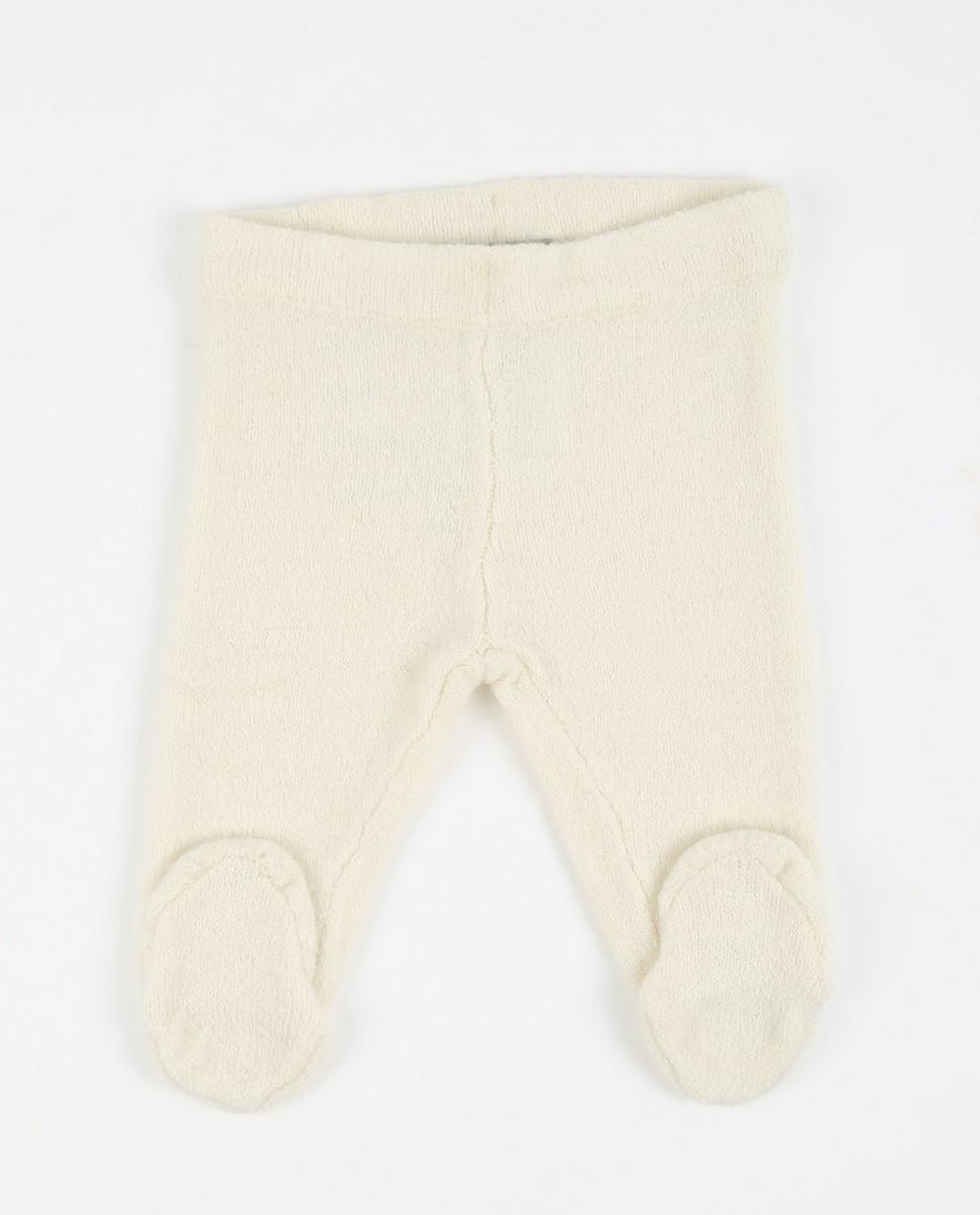 Cremeweiße Strick-Hose - mit Füßen - JBC